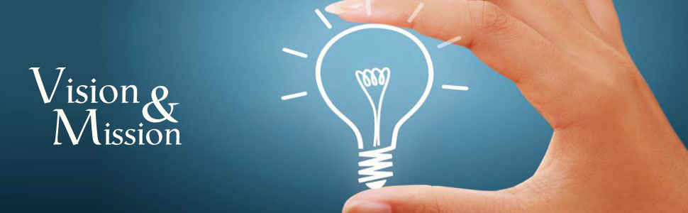 Hand holding light bulb for Vision and Mission